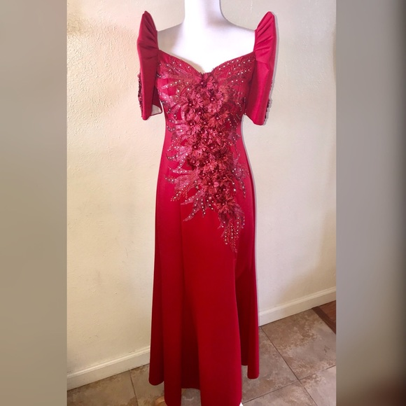 Majestic Vogue Collections Dresses | Red Filipiniana Terno Butterfly ...